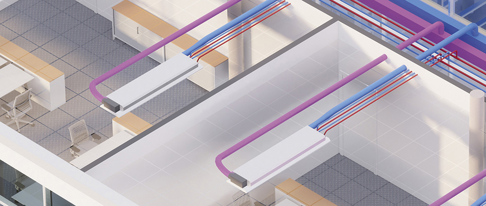 Very-high efficiency hydronic solution with chilled beams